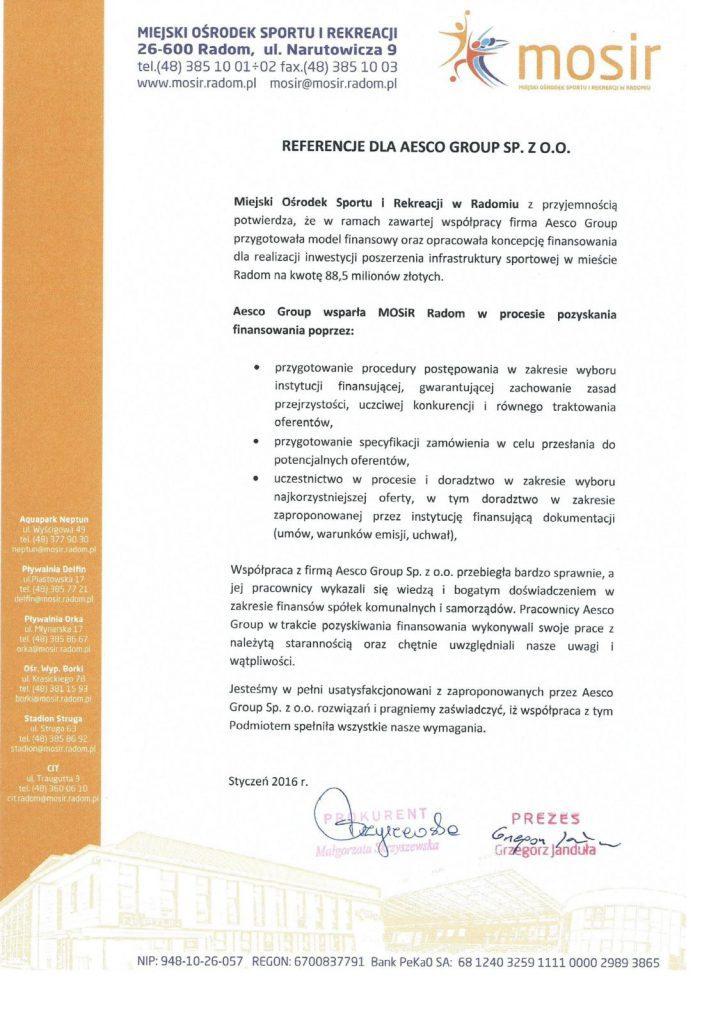 Referencje - Finansowanie MOSIR Radom